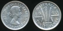 World Coins - Australia, 1960 Threepence, 3d, Elizabeth II - Uncirculated
