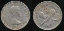 World Coins - New Zealand, 1957 Threepence, 3d, Elizabeth II - Extra Fine