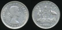 World Coins - Australia, 1956 Sixpence, 6d, Elizabeth II (Silver) - Fine