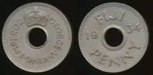 Fiji, Republic British Administration, 1934 Penny, 1d, George V - Extra Fine