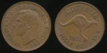World Coins - Australia, 1951(pl) Halfpenny, 1/2d, George VI - Uncirculated