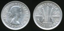 World Coins - Australia, 1960 Threepence, 3d, Elizabeth II (Silver) - Uncirculated