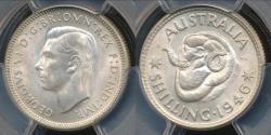 World Coins - Australia, 1946(m) One Shilling, 1/-, George VI (Silver) - PCGS MS63 (Ch-Unc)