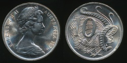 World Coins - Australia, 1976 Ten Cents, 10c, Elizabeth II - Choice Uncirculated
