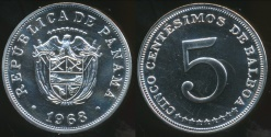 World Coins - Panama, Republic, 1968 5 Centesimos - Proof