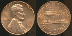 World Coins - United States, 1965 One Cent, Lincoln Memorial - Choice Uncirculated