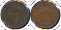 World Coins - Australia, 1942(m) Halfpenny, 1/2d, George VI - Very Fine