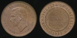 World Coins - Australia, 1938 Halfpenny, 1/2d, George VI - Uncirculated