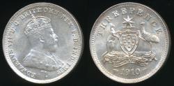 World Coins - Australia, 1910 Threepence, 3d, Edward VII (Silver) - Choice Uncirculated