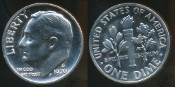 World Coins - United States, 1970-S Dime, Roosevelt - Proof