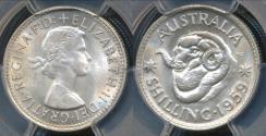 World Coins - Australia, 1959(m) One Shilling, 1/-, Elizabeth II (Silver) - PCGS MS63 (Ch-Unc)