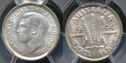 World Coins - Australia, 1944(s) Threepence, 3d, George VI (Silver) - PCGS MS65 (Gem-Unc)