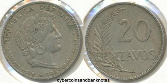 Ancient Coins - PERU - 1926, 20 Centavos - KM# 215.1 - VF