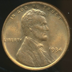 World Coins - United States, 1934 One Cent, Lincoln Wheat - Uncirculated