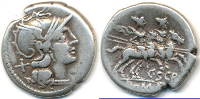 Ancient Coins - ROMAN REPUBLIC - C. Scribonius, AR Denarius, (c.154 B.C.), Rome mint, (18mm, 4.07 g) - Cr.201/1