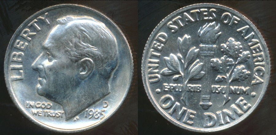 World Coins - United States, 1985-D Dime, Roosevelt - Choice Uncirculated