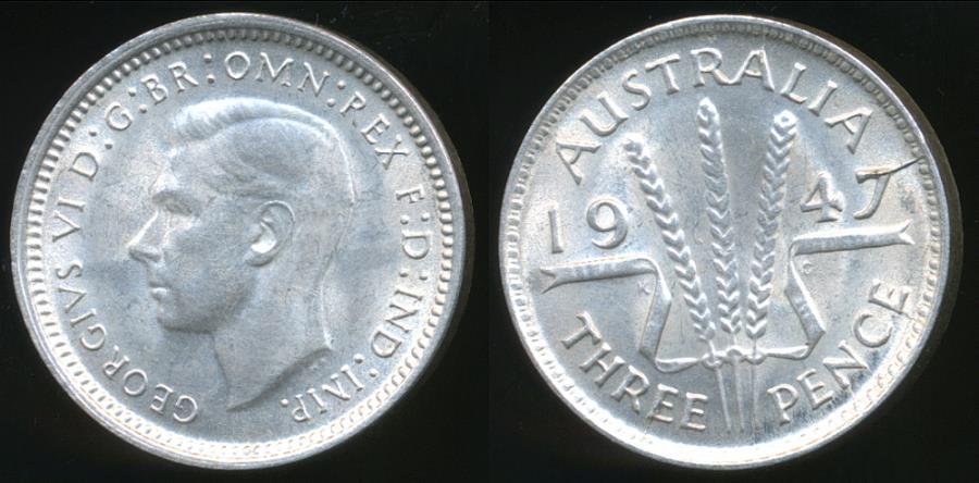 1947 3d  Australia George VI  Silver Threepence very Nice