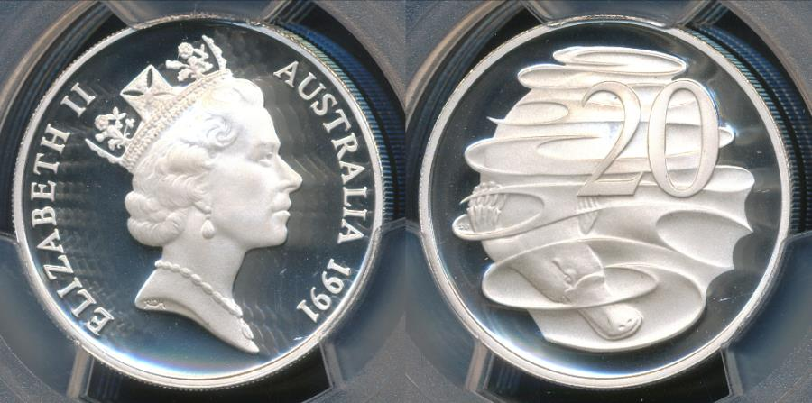World Coins - Australia, 1991 Twenty Cents 20c Elizabeth II (Silver) - PCGS PR69DCAM (Proof)