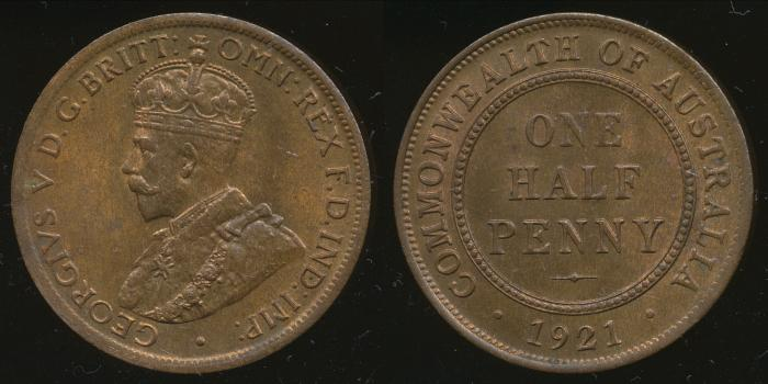 World Coins - AUSTRALIA - 1921 Halfpenny, George V - Unc