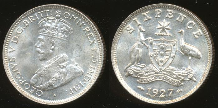 World Coins - AUSTRALIA - 1927 Sixpence, George V - Ch-Unc