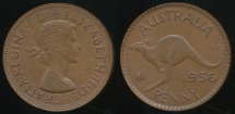World Coins - Australia, 1956(m) One Penny, 1d, Elizabeth II - almost Uncirculated