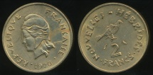 World Coins - New Hebrides, French/British Condominium, 1970 2 Francs - almost Uncirculated