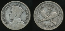 World Coins - New Zealand, 1933 Threepence, 3d, George V (Silver) - Very Good/ Fine