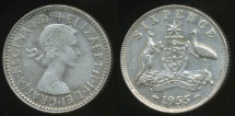 World Coins - Australia, 1955 Sixpence, 6d, Elizabeth II (Silver) - Very Fine