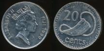 Fiji, Republic, 1990 20 Cents, Elizabeth II - Very Fine