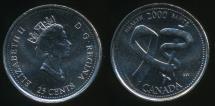 World Coins - Canada, Confederation, 2000 25 Cents, Elizabeth II (Health) - Uncirculated
