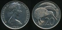 World Coins - New Zealand, 1980 Twenty Cents, 20c, Elizabeth II - Choice Uncirculated