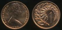 World Coins - New Zealand, 1980 One Cent, 1c, Elizabeth II - Choice Uncirculated