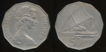 Fiji, Republic, 1980 50 Cents, Elizabeth II - Very Fine