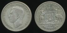 World Coins - Australia, 1946 Florin, 2/-, George VI (Silver) - Very Good