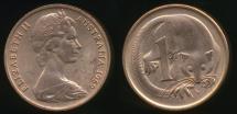 World Coins - Australia, 1969 One Cent, 1c, Elizabeth II - Uncirculated
