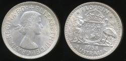 World Coins - Australia, 1958 Florin, 2/-, Elizabeth II (Silver) - Extra Fine