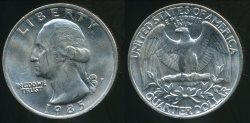 World Coins - United States, 1985-P Quarter, 1/4 Dollar, Washington - Uncirculated