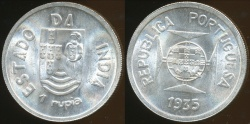 World Coins - India, Portuguese Administration, 1935 Rupia - Choice Uncirculated