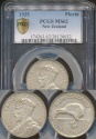 World Coins - New Zealand, 1935 Florin, 2/-, George V (Silver) - PCGS MS62 (Uncirculated)