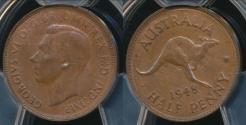 World Coins - Australia, 1948(p) Halfpenny, 1/2d, George VI - PCGS MS63BN (Ch-Unc)