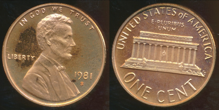World Coins - United States, 1981-S One Cent, Lincoln Memorial (type 1) - Proof