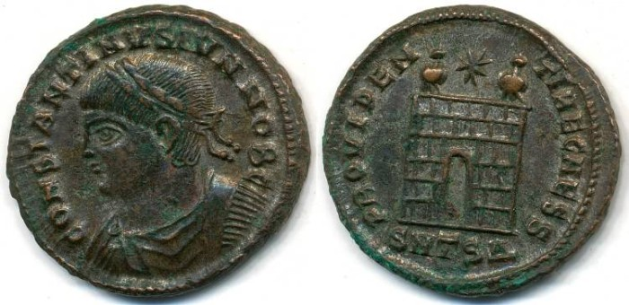 Ancient Coins - CONSTANTINE II, Silvered AE-3, AD 317-340, Thessalonica mint, Struck 326-328 AD, (20mm, 3.59 gm) - RIC VII 157