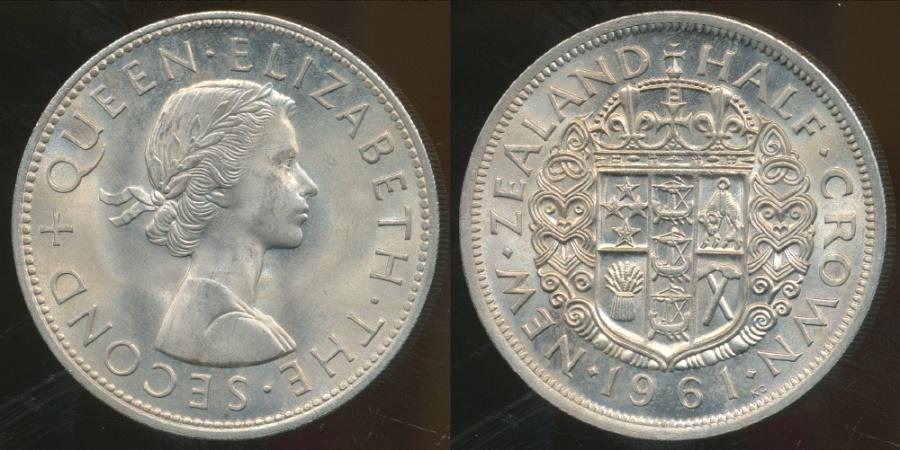 World Coins - New Zealand, 1961 Halfcrown, Elizabeth II - Choice Uncirculated