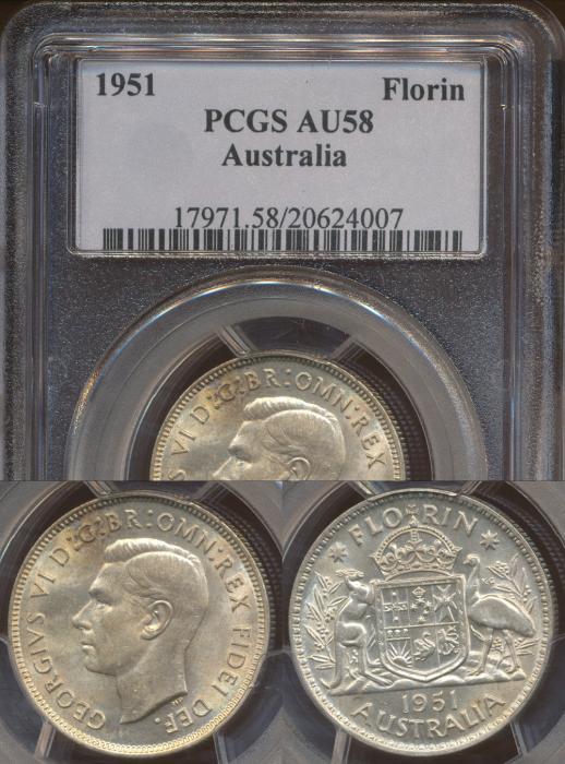 World Coins - AUSTRALIA - 1951 Florin - PCGS AU58
