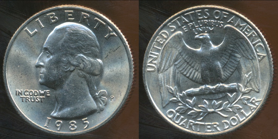 World Coins - United States, 1985-P Quarter Dollar, Washington - Uncirculated