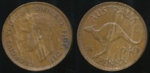 World Coins - Australia, 1949(m) One Penny, 1d, George VI - Extra Fine