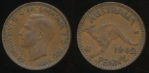 World Coins - Australia, 1942(I) One Penny, 1d, George VI - Fine