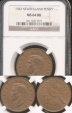 World Coins - New Zealand, 1943 One Penny, George VI - NGC MS64RB