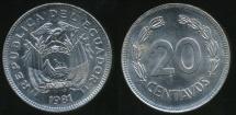 World Coins - Ecuador, Republic, 1981 20 Centavos - Uncirculated