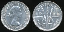 World Coins - Australia, 1956 Threepence, 3d, Elizabeth II (Silver) - almost Uncirculated